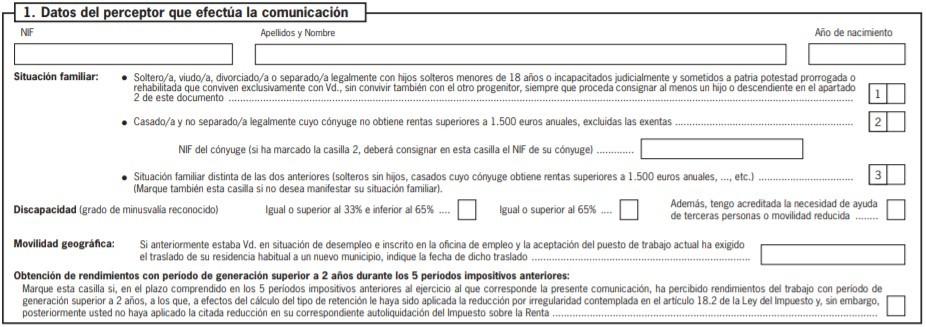 Formulario 145 IRPF