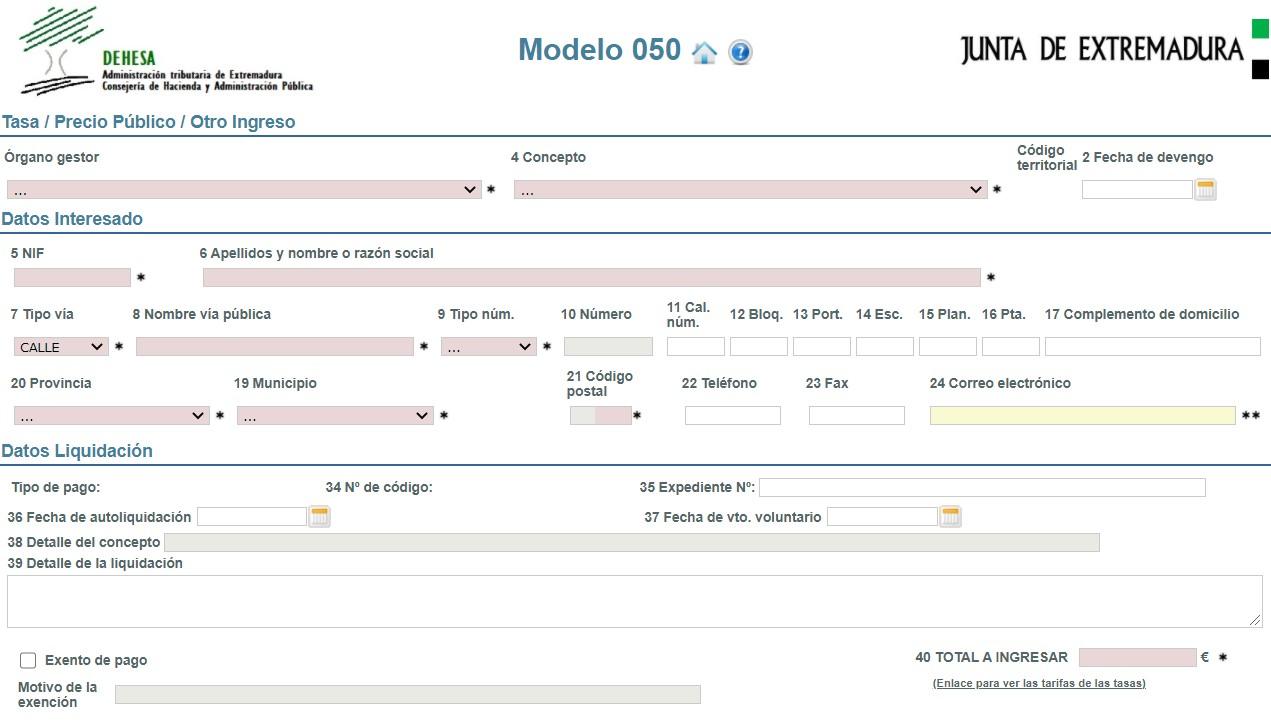 Modelo 050 Junta de Extremadura
