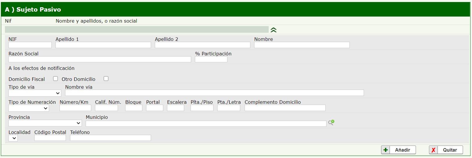 Formulario 621 Junta de Andalucía